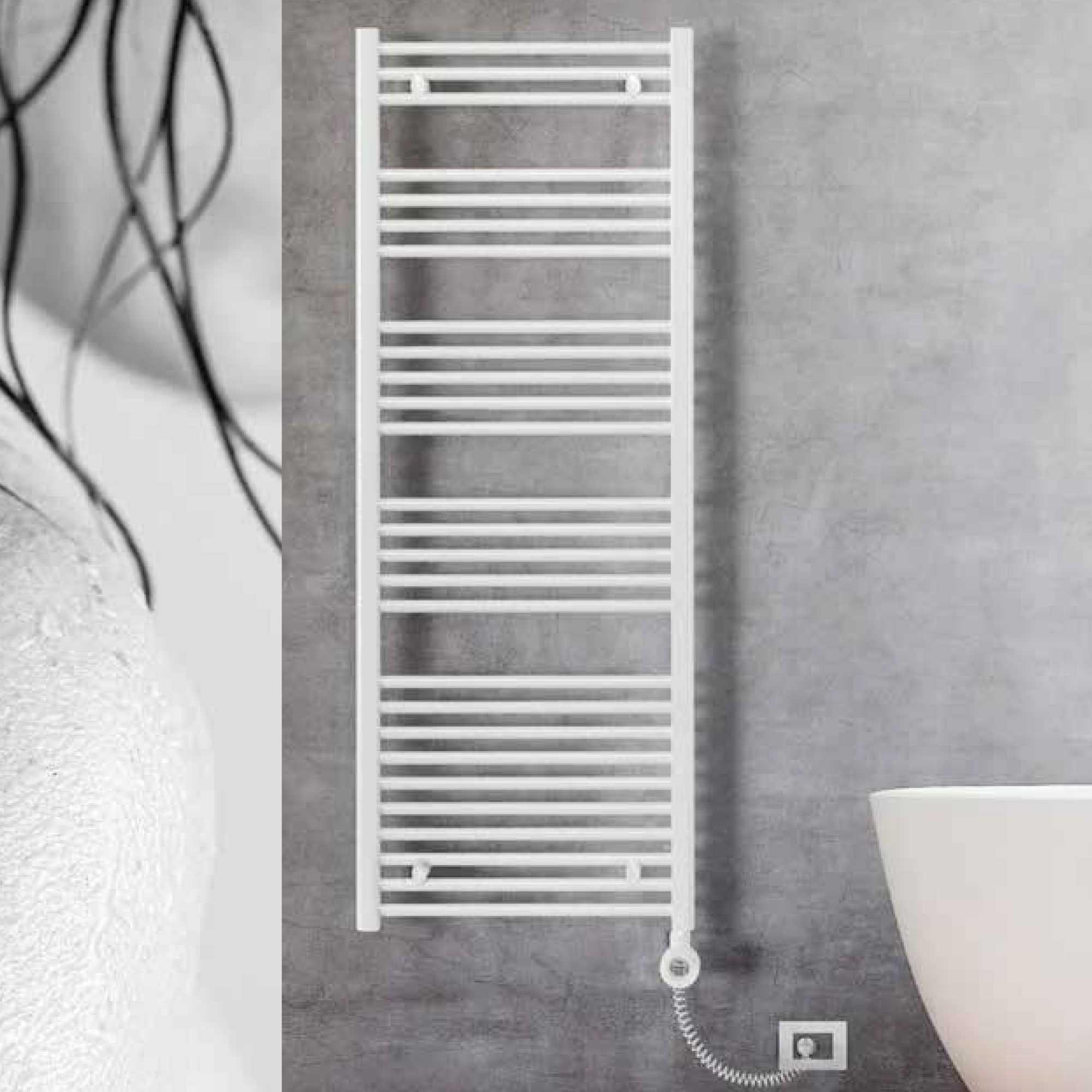 Termoarredo elettrico bianco 1800x500 Lazzarini E-Bolzano 900 watt con altezza 1800 mm e termostato
