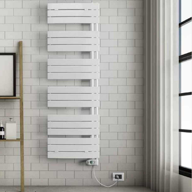 Termoarredo elettrico bianco curvo Lazzarini E-Pieve 1380x550 cm 600 watt