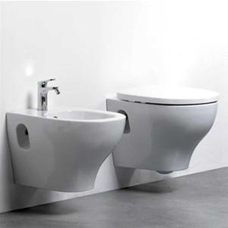 Sanitari Sospesi bidet e wc con sedile soft close Ceramica Azzurra 'Pratica' cm 52,5