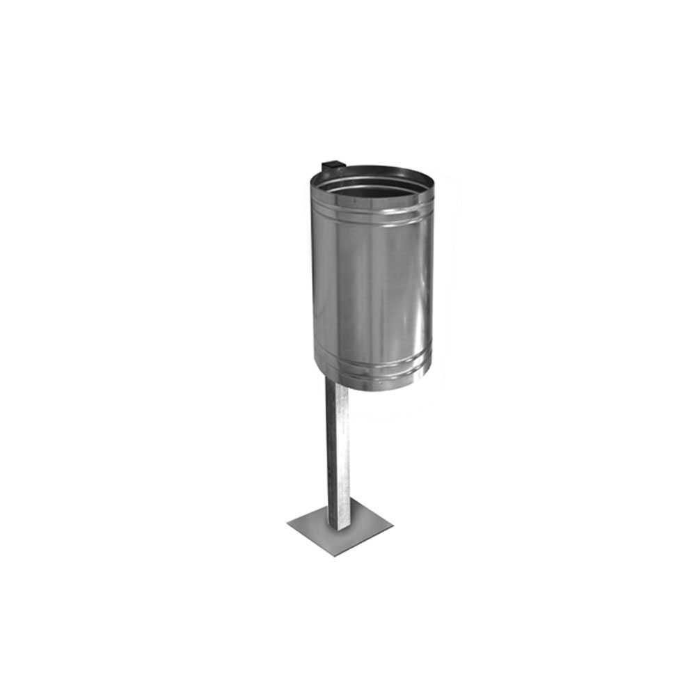 Cestino porta rifiuti zincato diametro 300 mm completo di asta con base