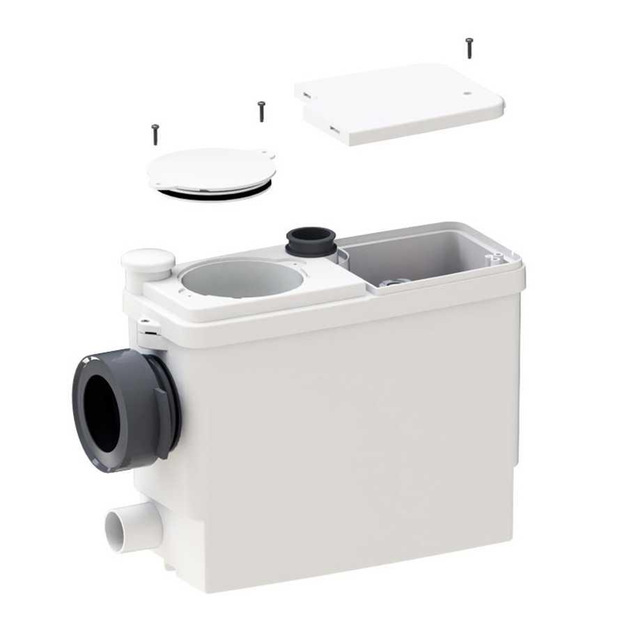 Cassetta trituratrice Sanipack ideale per tutti i modelli di wc sospesi e a terra