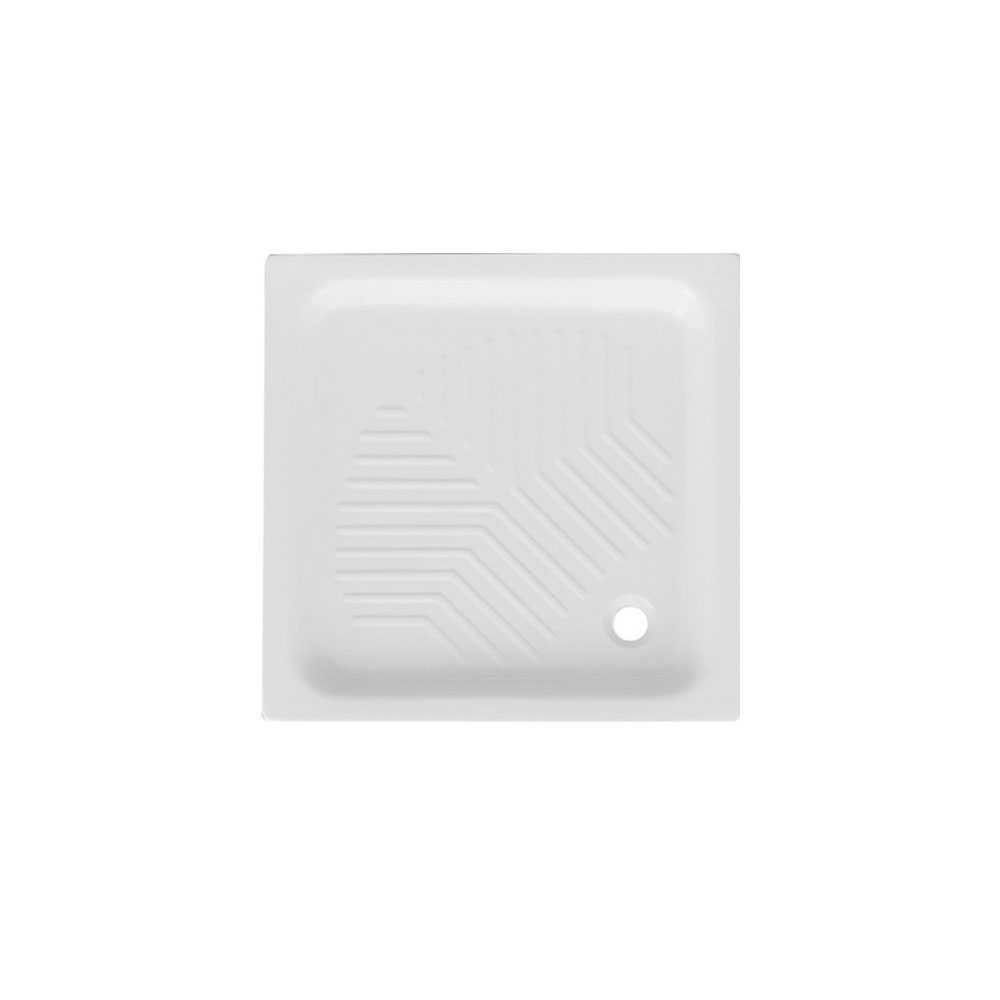Piatto doccia quadrato in ceramica bianca 80x80 con antiscivolo integrato