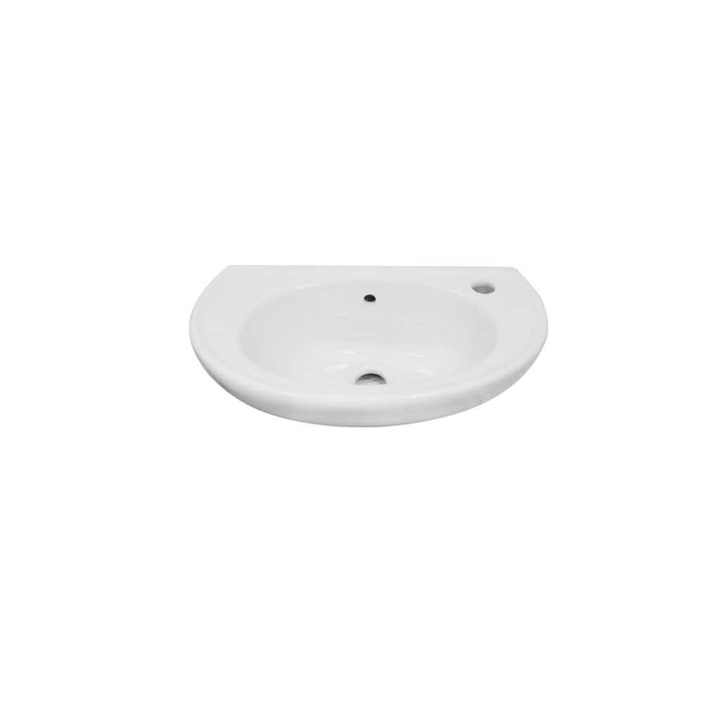 Lavabo a parete Linpha LP705 ceramica bianca 46x28 con troppopieno altezza 18 cm