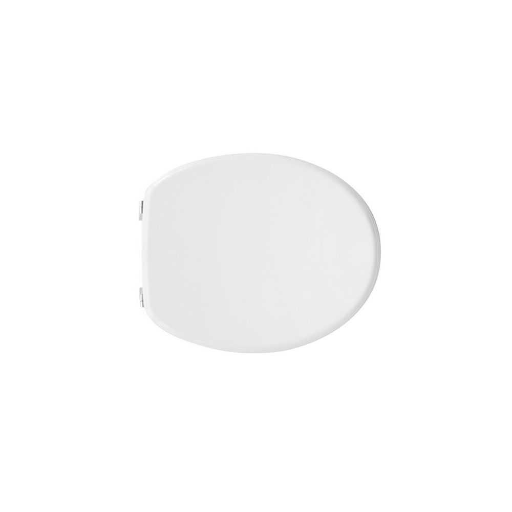 Sedile wc universale Perugia in MDF stampato bianco larghezza 37,7 cm cerniere regolabili