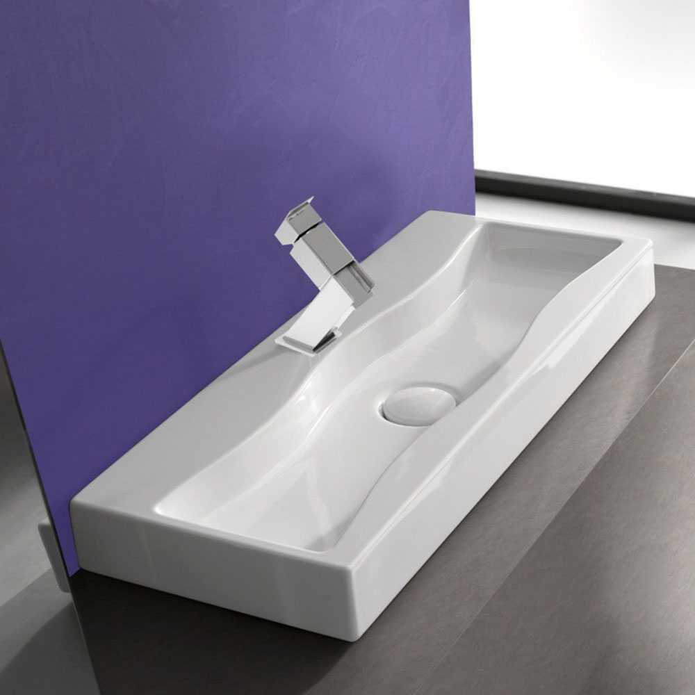 Lavabo ad appoggio Breeze 100X40 in ceramica bianca design moderno