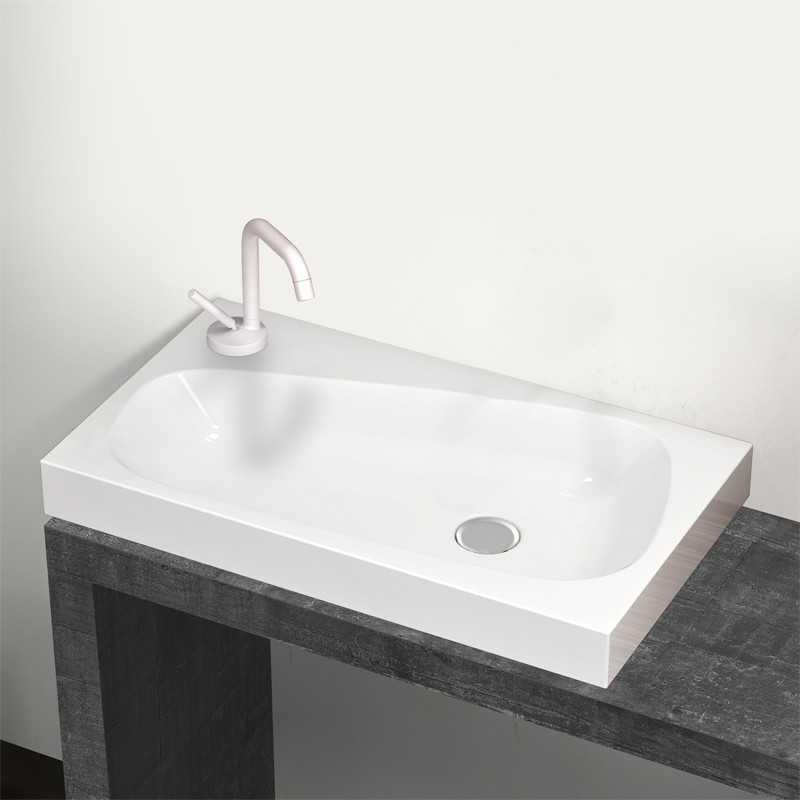 Lavabo ad appoggio con foro rubinetto Drop 70x40 in ceramica bianca design moderno