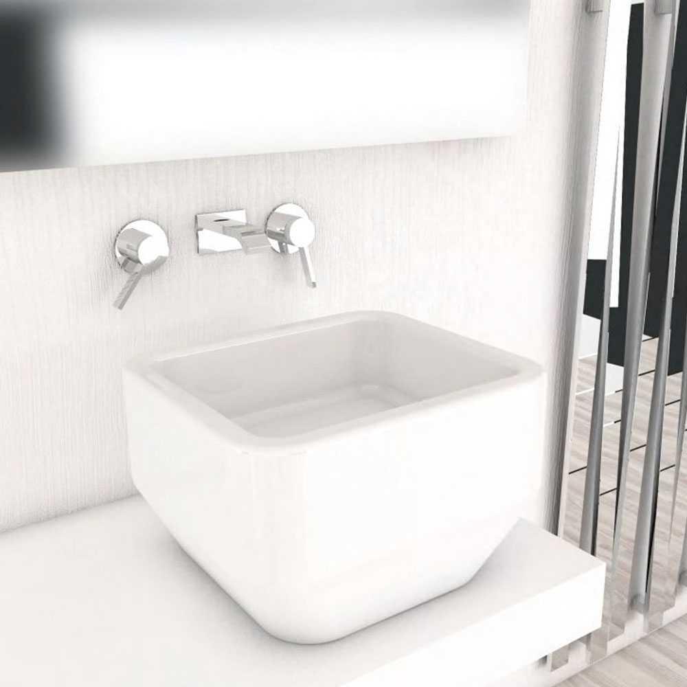 Lavabo ad appoggio Soho 50x45 alto 30 cm in ceramica bianca
