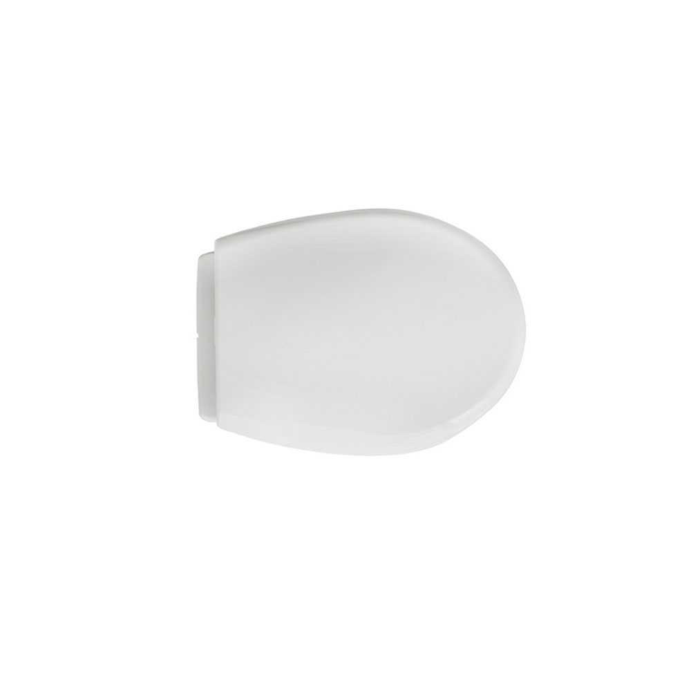 Sedile universale per wc modello Vulcano in polipropilene bianco larghezza 36,5 cm