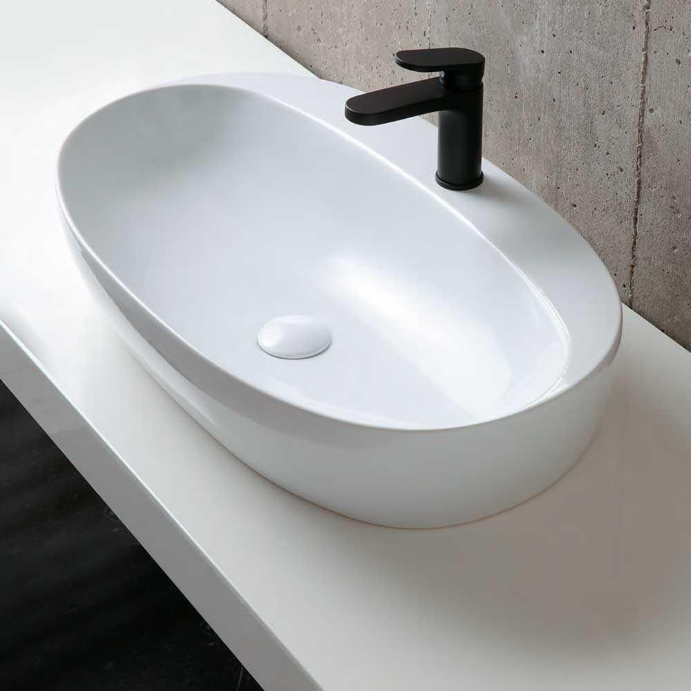 Lavabo da appoggio Ceramica Azzurra Elegance 60X42 con foro rubinetto