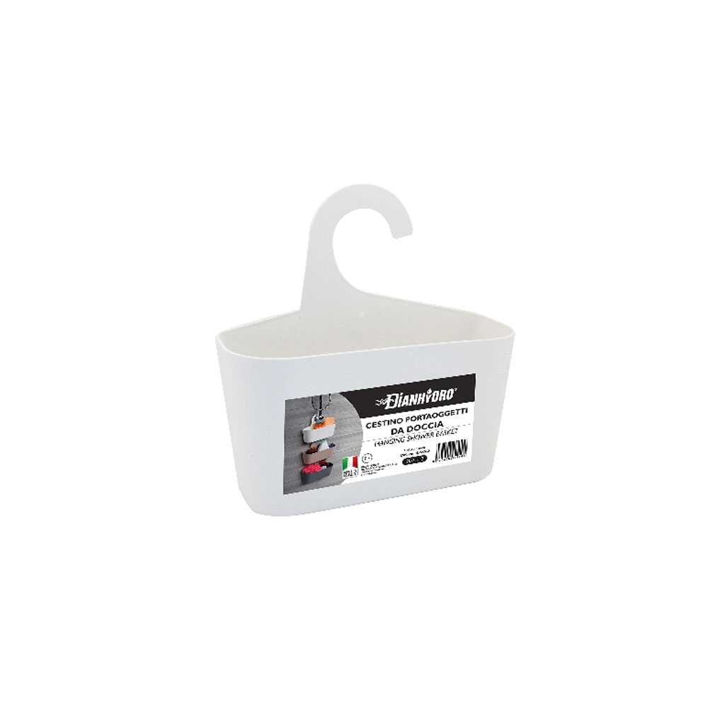 Cestino portaoggetti da doccia con gancio in duroplast 26x9x26,5 cm
