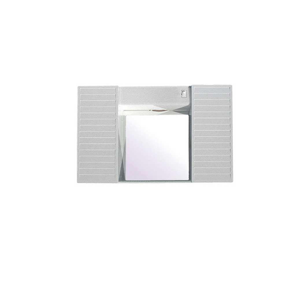 Specchio con due antine, mensola e luci cm 58x37x12 di CR