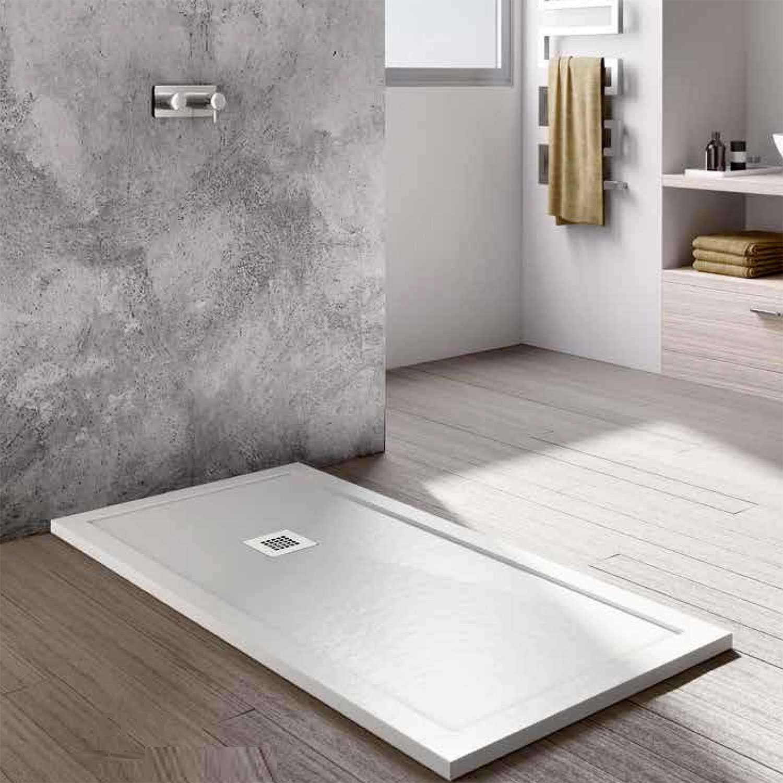 Piatto doccia con bordo effetto pietra in eco stone Althea CITY 70x100 altezza 3,5 cm bianco