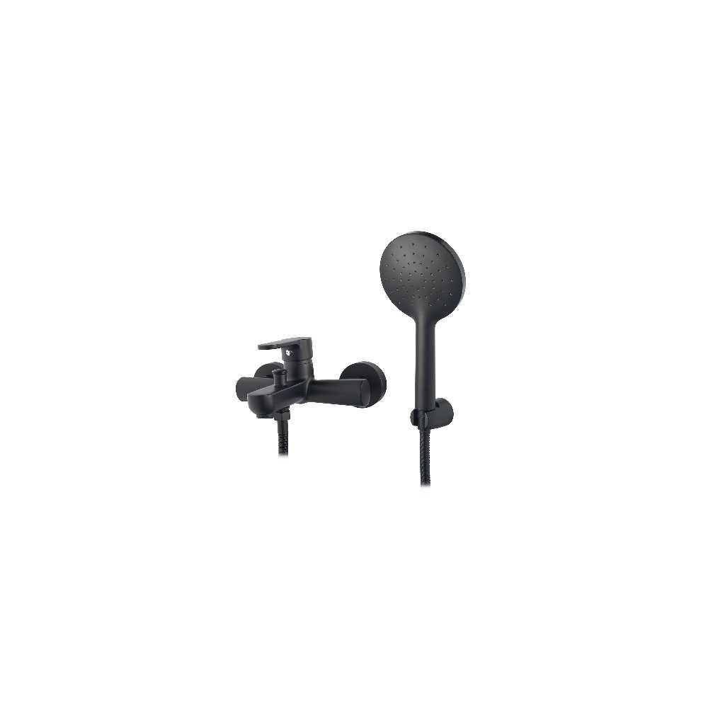 Miscelatore monocomando vasca nero opaco serie Paco con deviatore automatico