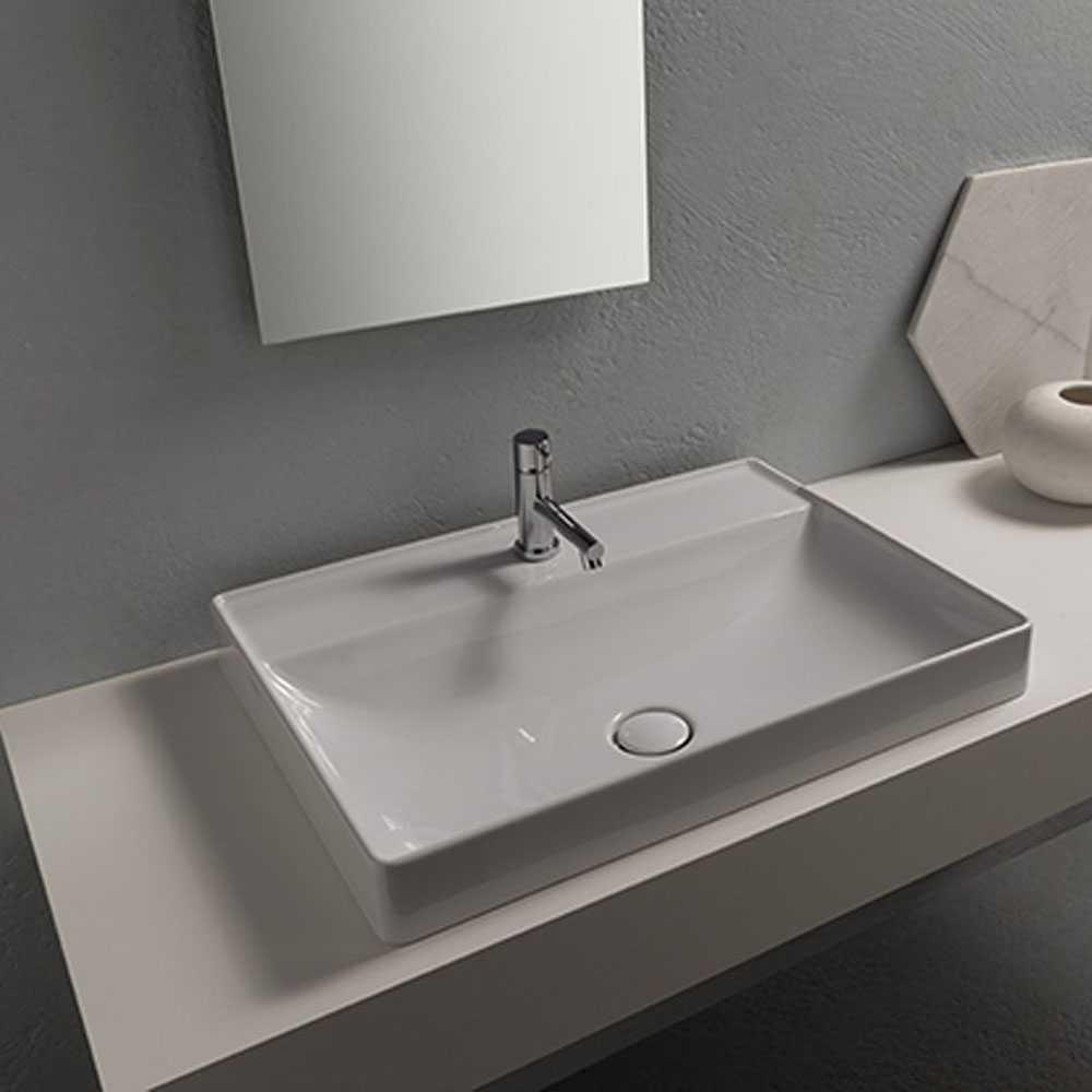 Lavabo ad incasso T-Edge ceramica bianca lucida 61x46 peso 17 kg