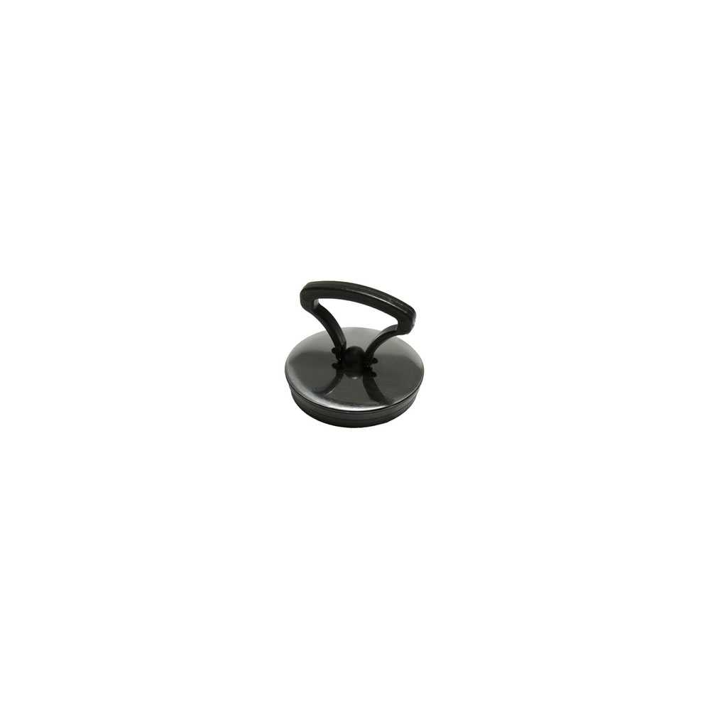 Tappo in gomma nera con maniglia e rosetta cromata diam. 52 mm