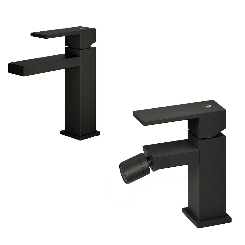 Set di miscelatori da bagno lavabo e bidet di colore nero Square Carbon con piletta clic clac