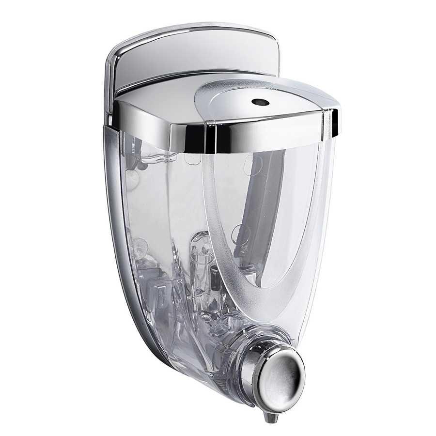 Distributore dosa sapone o disinfettante mani a parete Gedy Torpedo 300 ml in resina termoplastica cromato con serratura di sicurezza