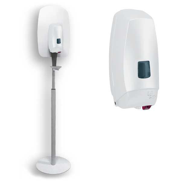 Dispenser automatico su piantana autoportante in metallo per gel igienizzante mani. Con salvagoccia. Capienza 1 Litro.