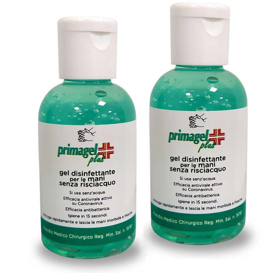 Gel igienizzante per le mani a base alcolica senza risciacquo per l'immediata detersione e disinfezione delle mani. 2 flaconi da 50ml cadauno