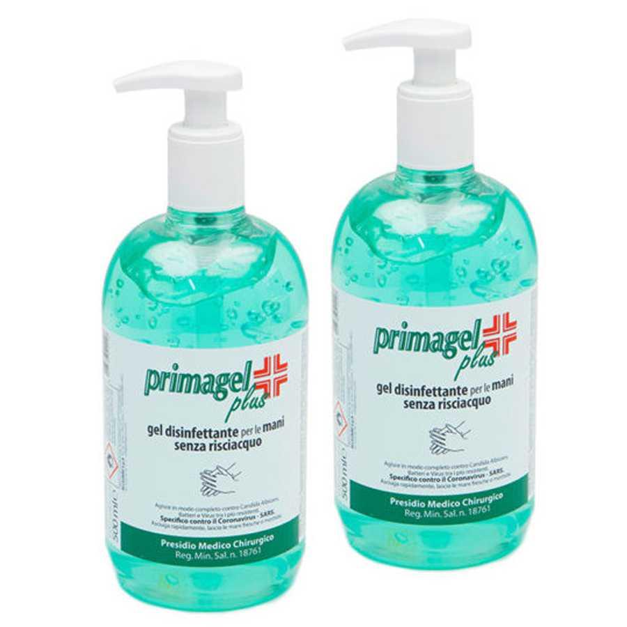 Igienizzante gel per le mani a base alcolica senza risciacquo per l'immediata detersione e disinfezione delle mani. Dispenser con dosatore a pompetta pack da 2 flaconi da 500 ml cadauno.