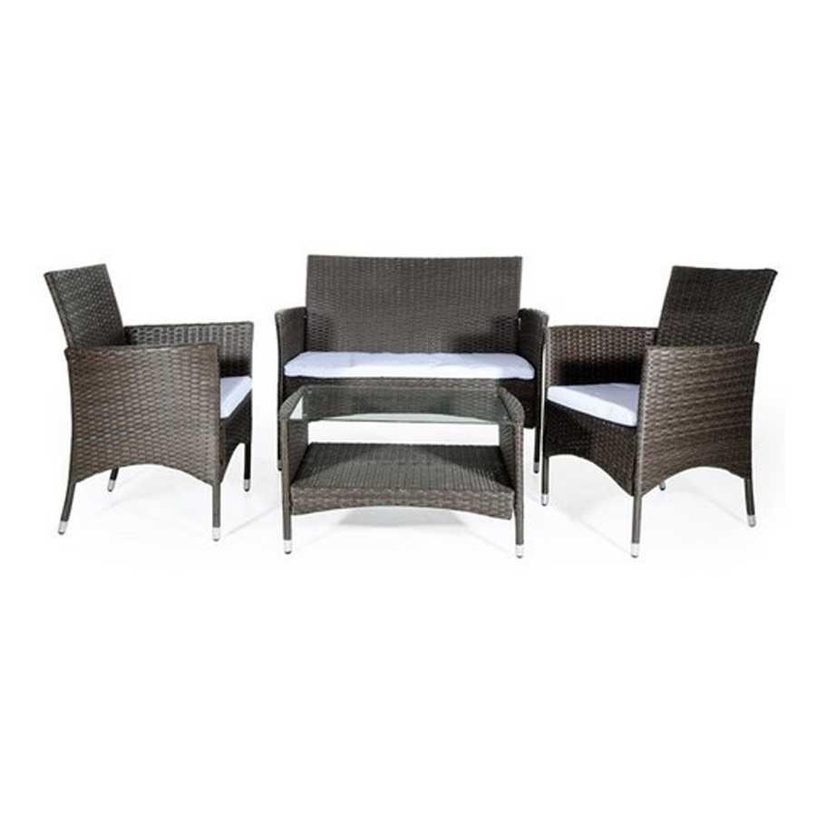 Salotto da giardino composto da tavolino rettangolare, 1 divano due posti e 2 sedie in polyrattan modello Menelao. Colore Marrone