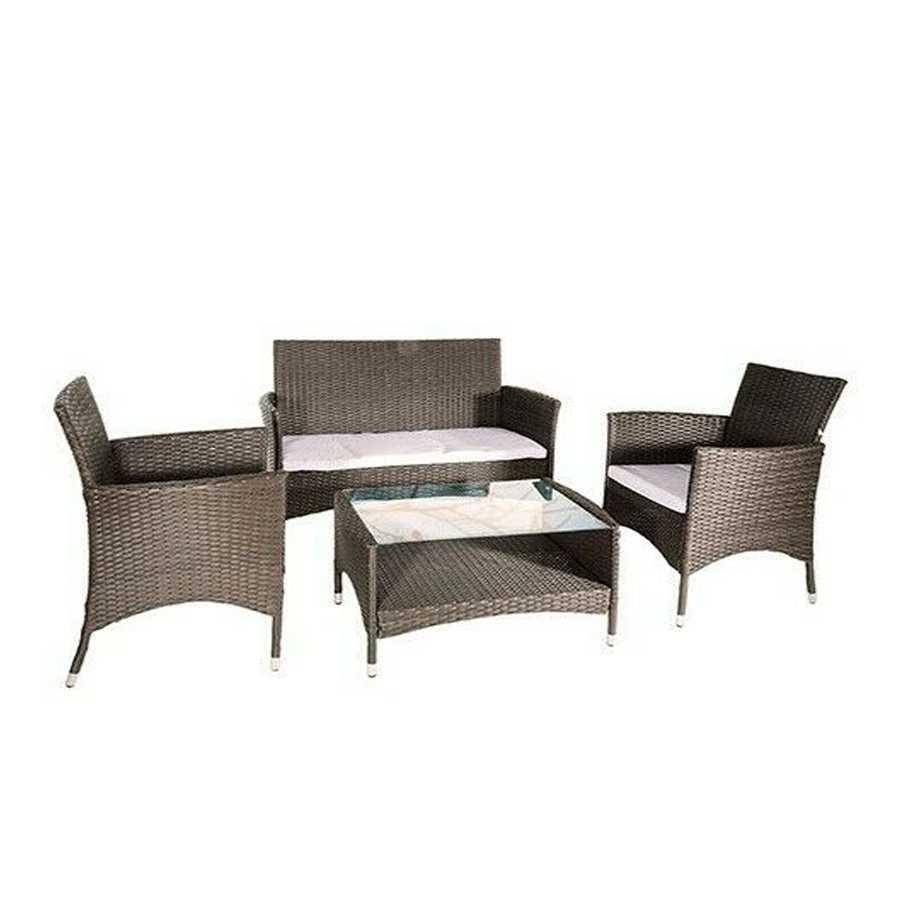 Salotto da giardino composto da tavolino rettangolare, 1 divano due posti e 2 sedie in polyrattan modello Menelao. Colore Tortora