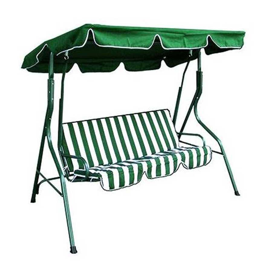Dondolo 3 posti con struttura in acciaio verniciato completo di cuscini e tendalino. Colore Bianco/Verde