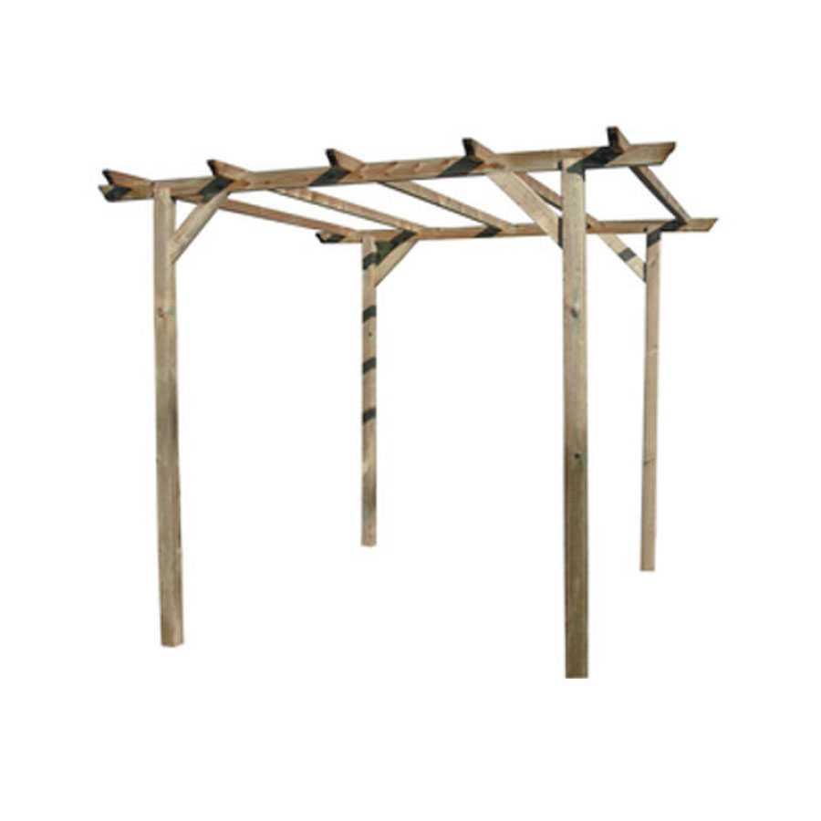 Pergola in legno di pino impregnato in autoclave. Dimensioni struttura cm 300x300x220h.