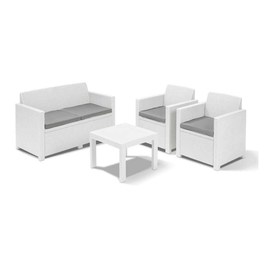 Salotto da esterni Mod. ALABAMA in resina antiurto effetto polyrattan. Divano + 2 poltrone + Tavolino Colore bianco