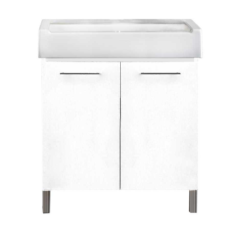 Mobile lavatoio 2 ante in materiale melaminico con lavabo in ceramica e piedini abs cromati. Variante Bianco Classico Misure cm 60x51