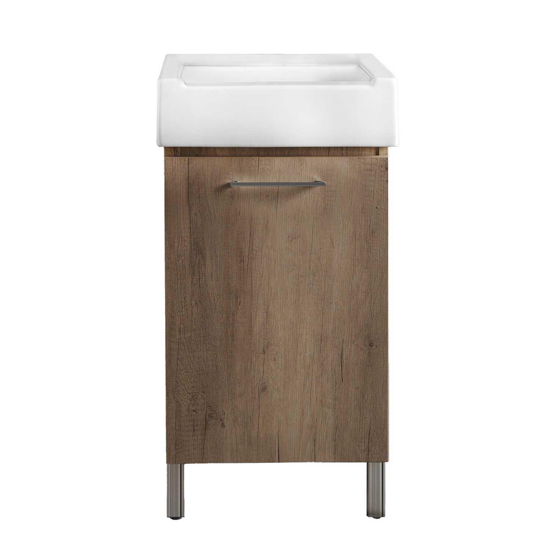 Mobile lavatoio 1 anta in materiale melaminico con lavabo in ceramica e piedini abs cromati. Variante Olmo Montano Misure cm 51x51,5