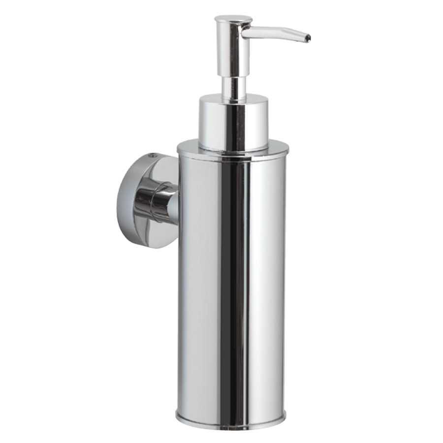 Distributore sapone o disinfettante mani a parete Gedy Seal 150 ml in Acciaio, Ottone e Resine Termoplastiche. Cromo lucido