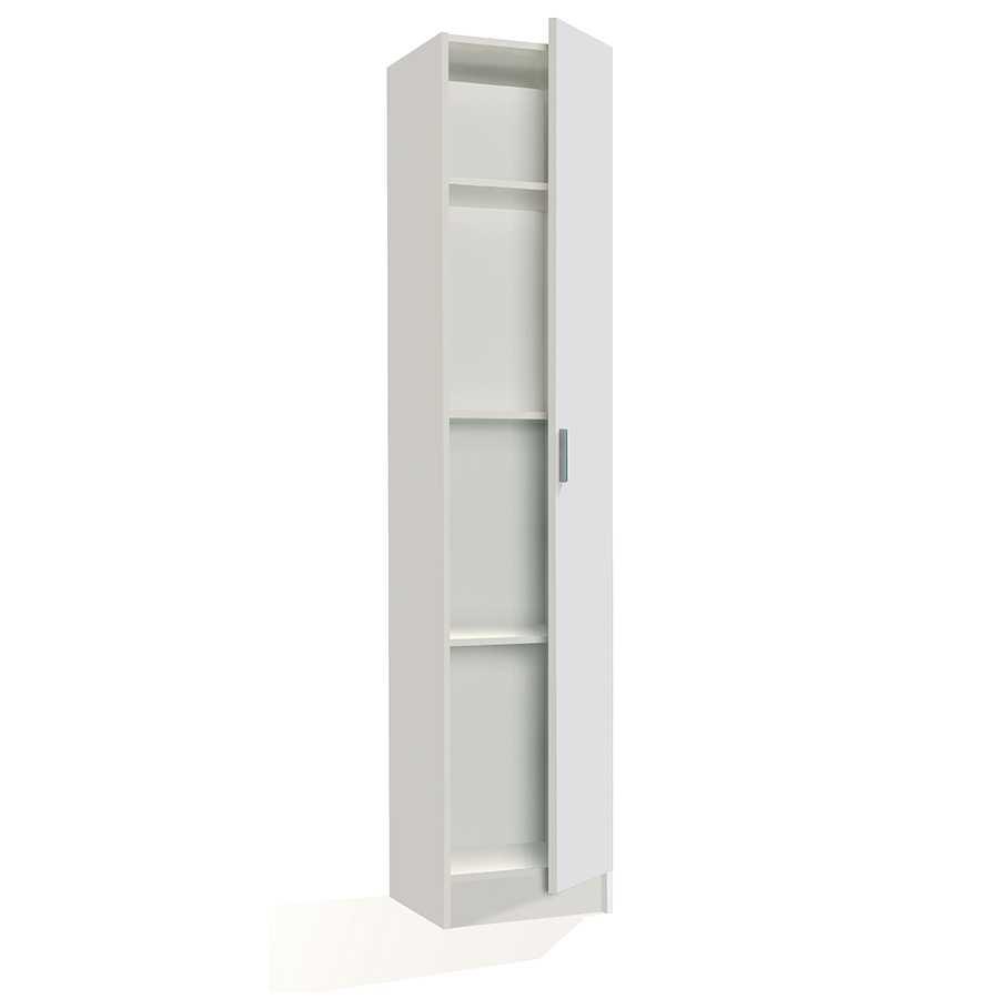 Armadio multiuso 1 anta con 3 ripiani regolabili in altezza. Materiale melaminico, colore bianco.