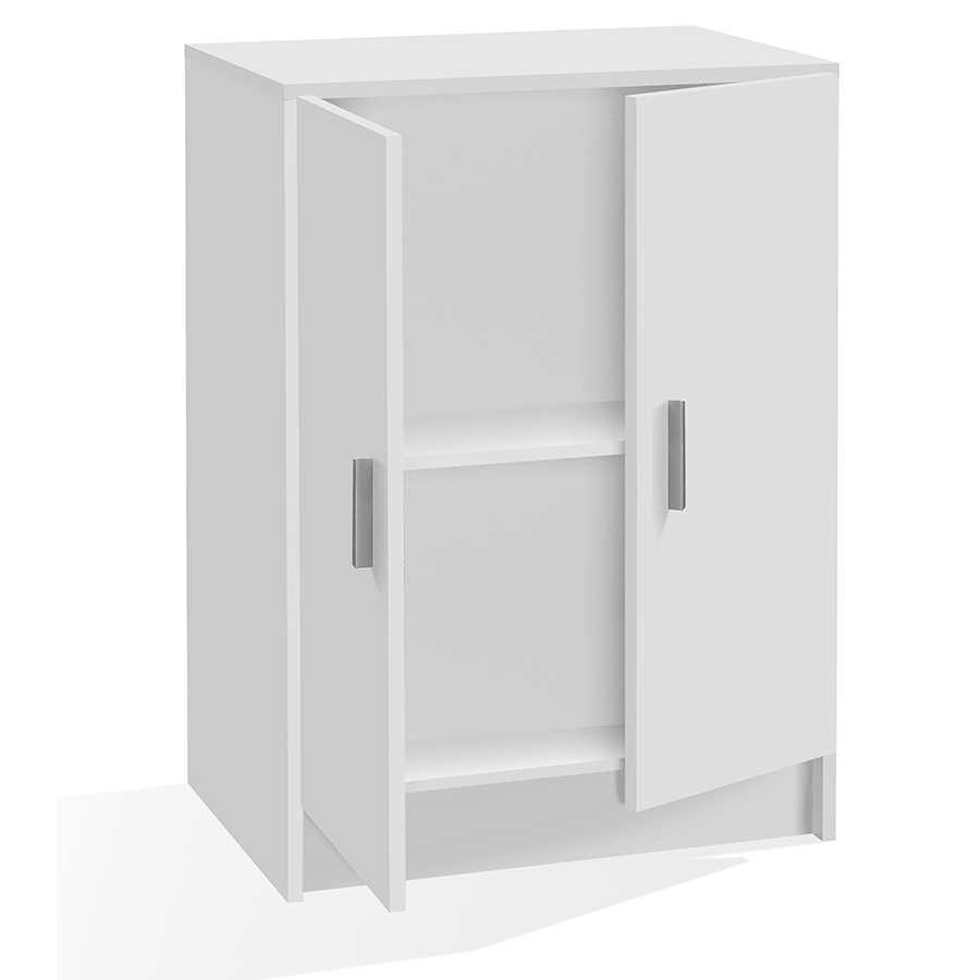Armadio basso con 2 ante 1 ripiano regolabile in altezza. Materiale melaminico, colore bianco.