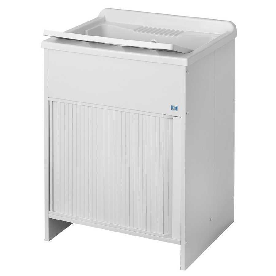 Lavatoio per esterni con mobile in plastica e apertura a serrandina. Vasca in resina speciale M.R.A. Misure cm 45X60X85h