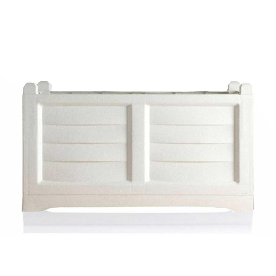 Fioriera rettangolare in polipropilene, effetto cassetta di legno. Colore Bianco