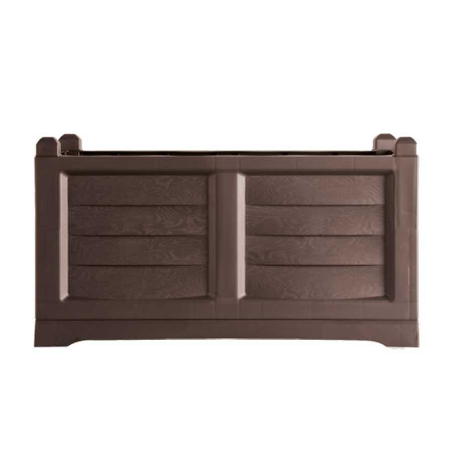 Fioriera rettangolare in polipropilene, effetto cassetta di legno. Colore Cacao