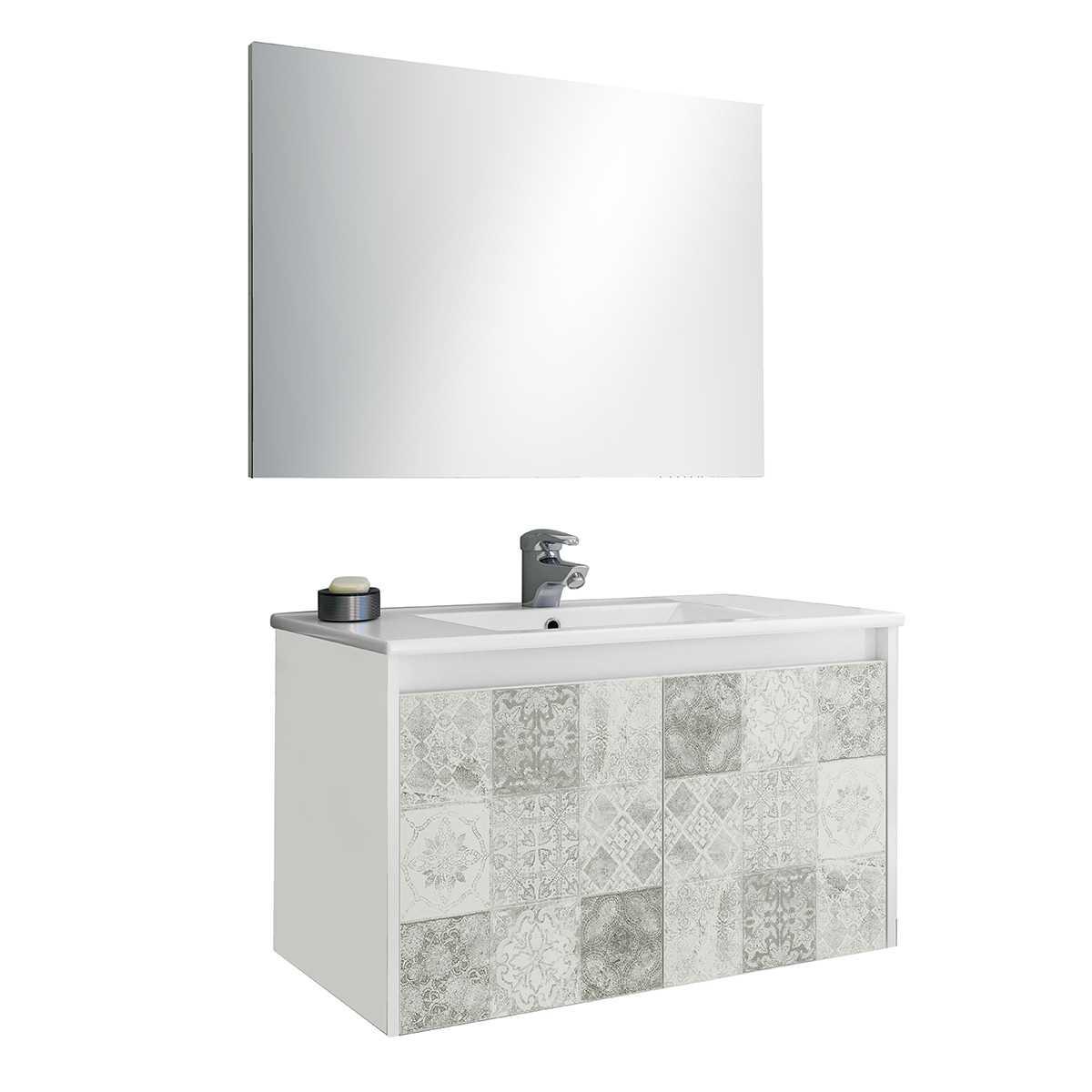 Mobile bagno sospeso in materiale melaminico completo di base sospesa con due ante, lavabo in ceramica e specchio. Colore bianco lucido e riproduzione cementine.