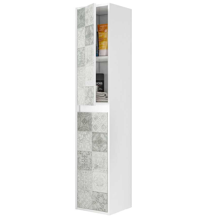 Colonna bagno sospesa Cementine in materiale melaminico, 2 ante, cerniere metalliche.  Colore bianco lucido e riproduzione cementine.