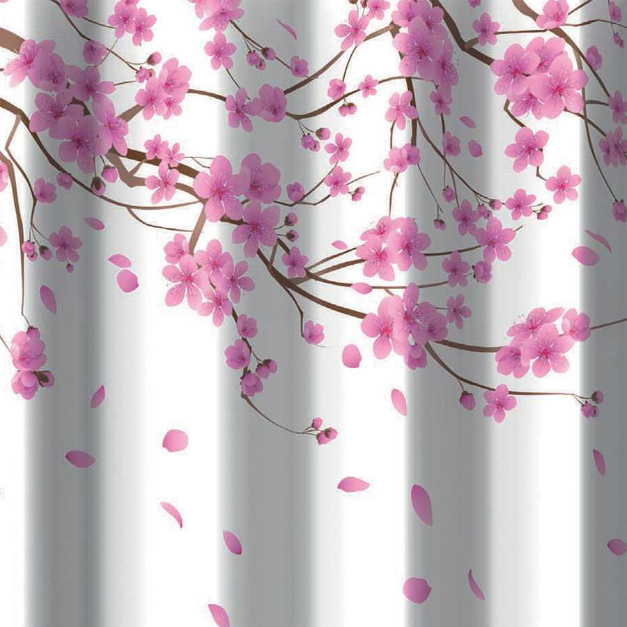 Tenda per doccia 2 lati in tessuto. Fantasia Sakura Rosa Dimensioni cm 180x200h