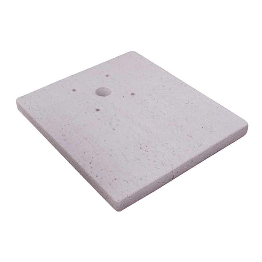 Base in pietra ricostruita per punti acqua modello quadrato serie Tavolozza. Rifinitura travertino rosa