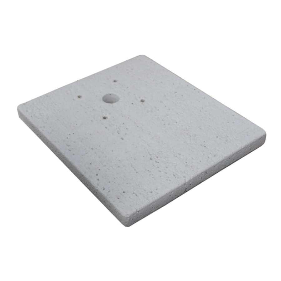 Base in pietra ricostruita per punti acqua modello quadrato serie Tavolozza. Rifinitura travertino bianco
