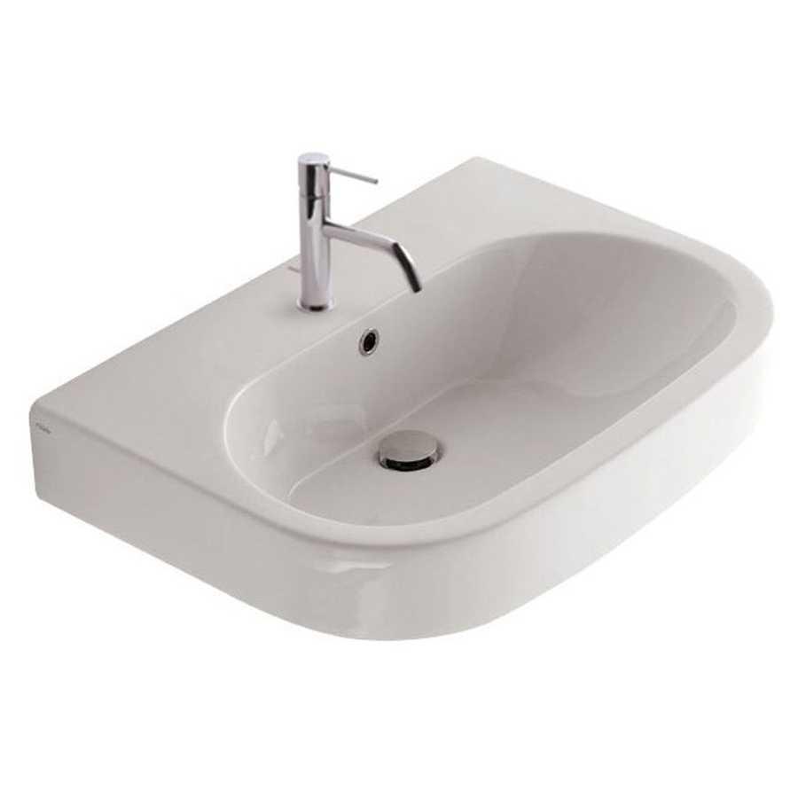 Lavabo modello Concept misure cm72x50x20 in ceramica bianca lucida. Con foro troppopieno.