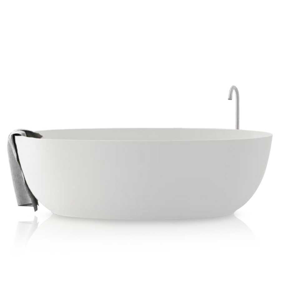 Vasca freestanding in Luxolid modello Ovo Tub. A pianta ovale, colore bianco