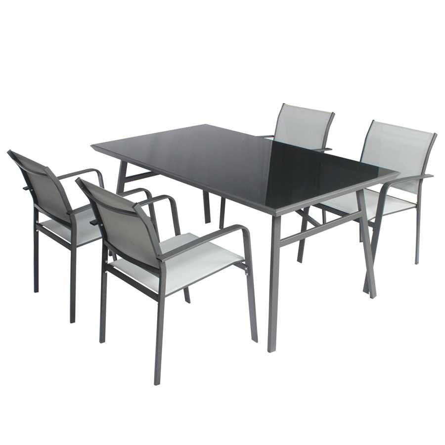 Set da giardino Tavolo+ 4 sedie Modello Fly colore grigio