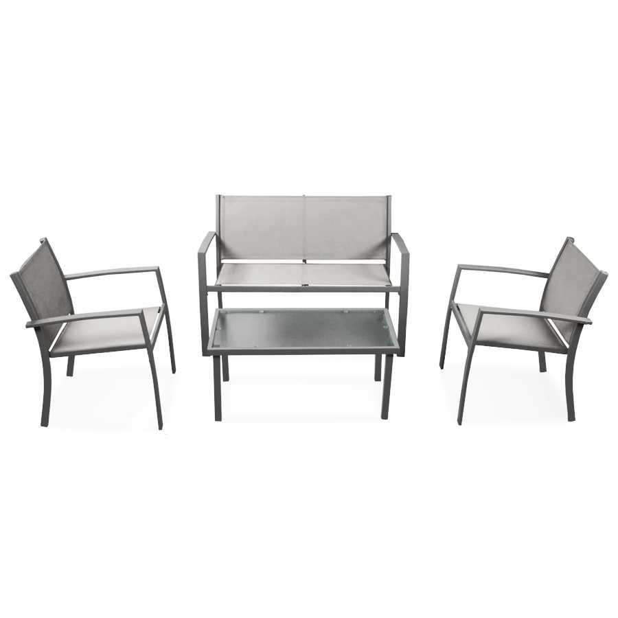 Salotto per esterni modello Sierra colore grigio. In acciaio verniciato