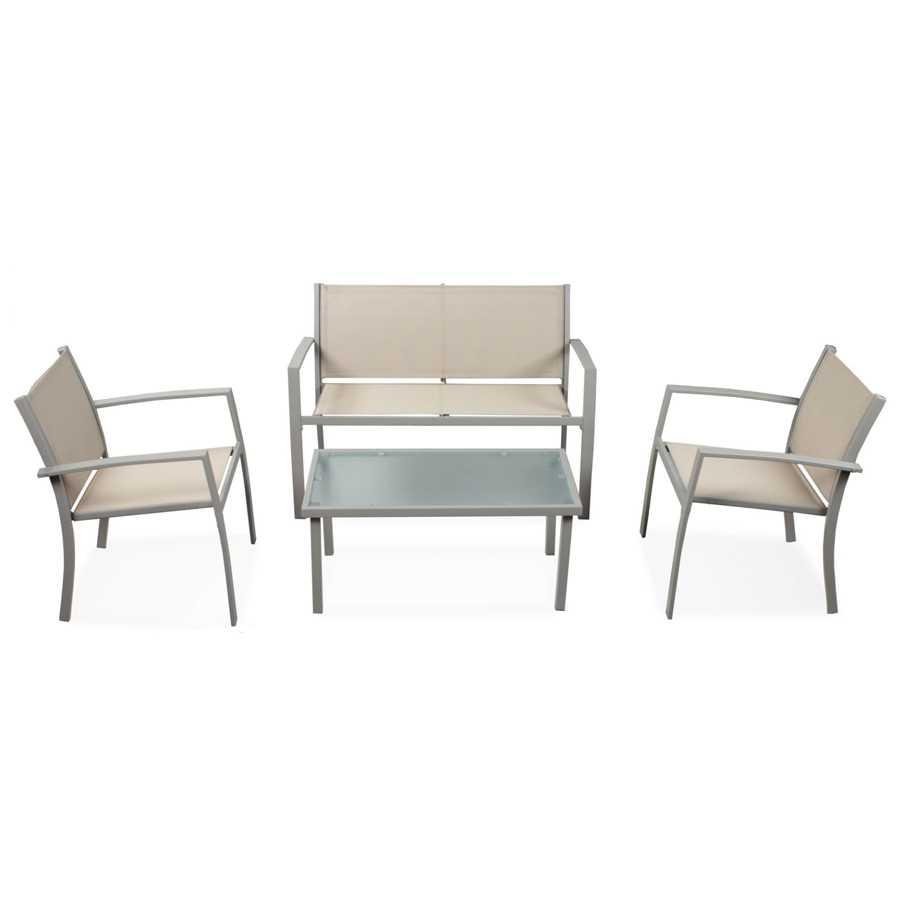 Set da esterni divano con poltrone e tavolino modello Sierra colore Marrone. In acciaio verniciato