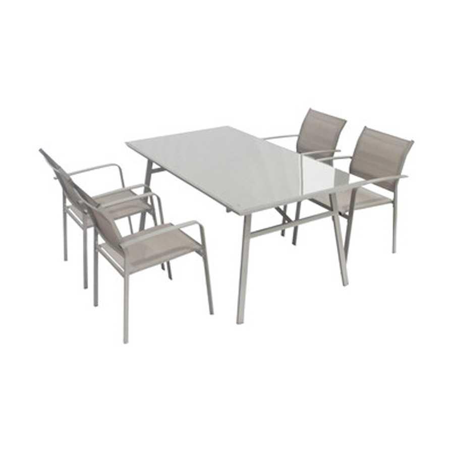 Set Tavolo+ 4 sedie Modello Fly colore marrone per arredo giardino