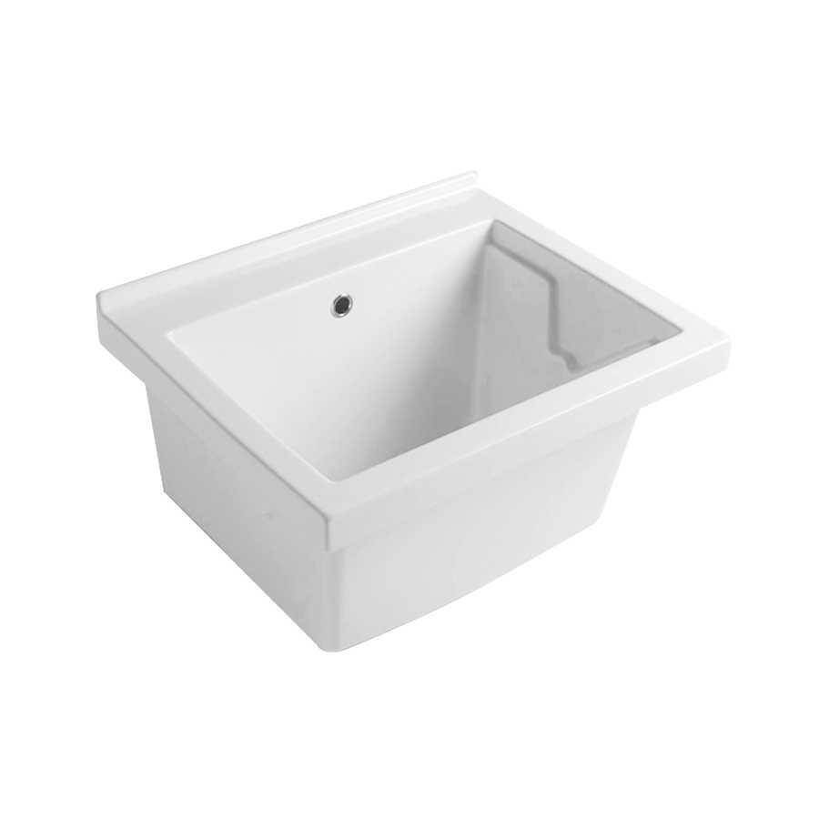 Lavatoio in ceramica bianca con foro troppo pieno. Senza strizzatoio