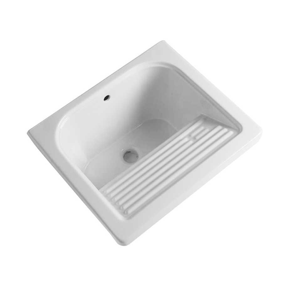 Lavatoio in ceramica bianca con foro troppo pieno. Con strizzatoio integrato